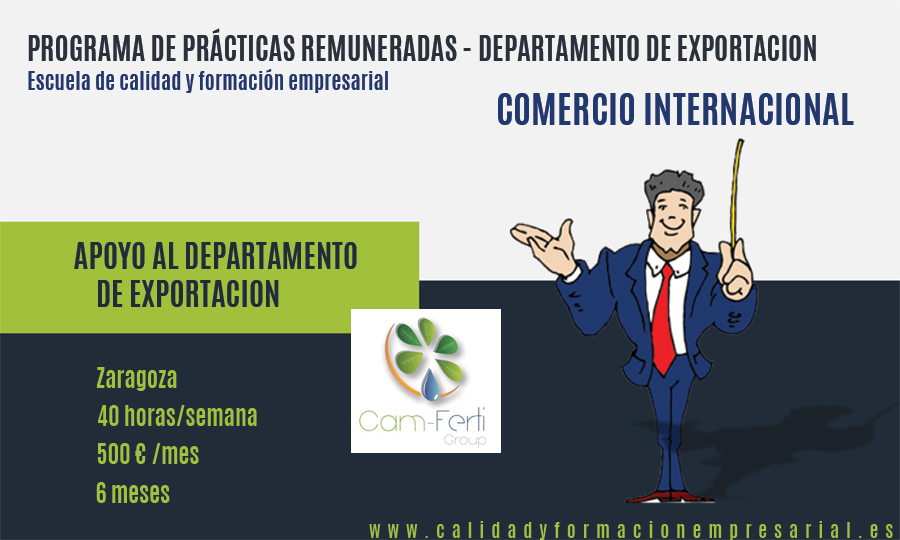 PRACTICAS REMUNERADAS DEPARTAMENTO DE EXPORTACION - ZARAGOZA