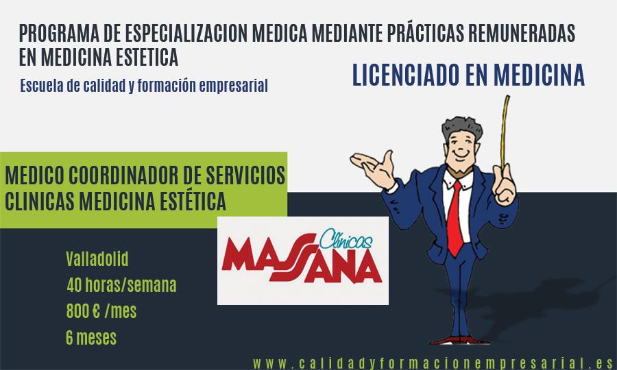 Programa de especialización médica mediante Prácticas remuneradas en Medicina Estética