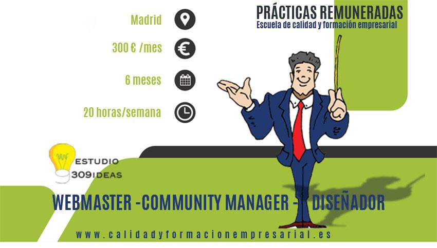 Prácticas remuneradas Webmaster- Community Manager - Diseñador gráfico - Madrid